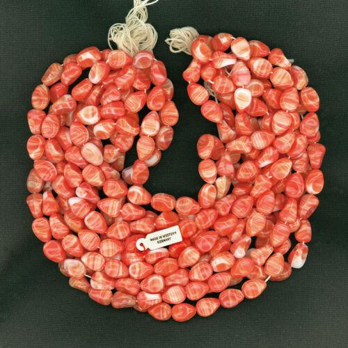 Vintage Orange & White Beads 14mm Opaque Glass Unusual Shape 20 Pcs. W. Germany