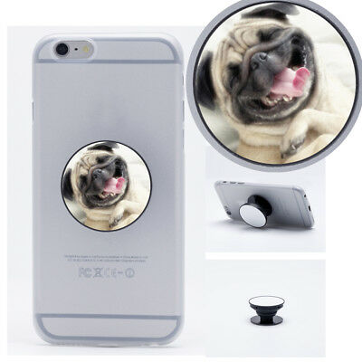 Smiling Pug Dog Funny Pop Up Stand Mount Cell Phone Grip Holder For iPhone