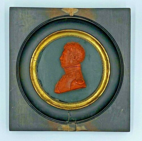 Antique Red Hard Stone Wall Portrait Profile Bust Medallion Military Officer
