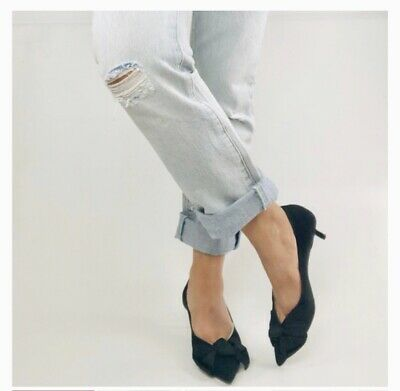 Zara Mid Height Heels With Bow 2212/001 Size 6.5 NWT