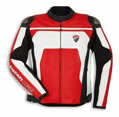 Ducati Corse C4 Red And White Perforated Motorbike Motorcycle Leather Jacket Ducati Corse Leather Jacket