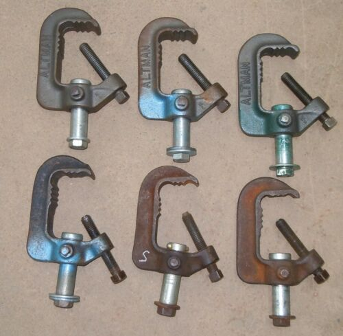 Six Altman Cast Iron C Clamps for stage lighting