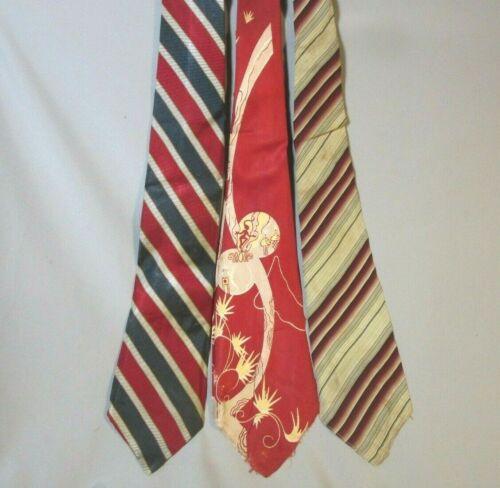 "Lot of Vintage Wide Silk Neckties, Red ""Baghdad"", Red, White & Blue Stripe"