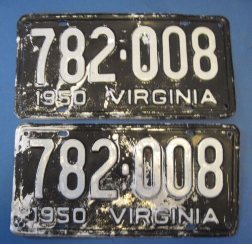 1950 Virginia license plates matched pair scarce Aluminum type DMV cleared