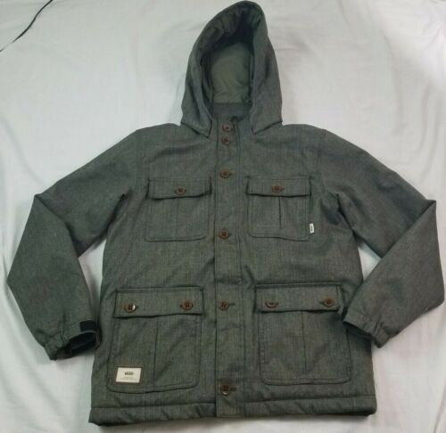 Vans Off the Wall Youth Kids Jacket Gray XL Long Sleeve Hooded Full Zip LS