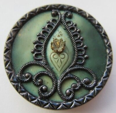 Elaborate LARGE Antique Victorian Metal & Celluloid BUTTON w/ GLASS Paste (L)