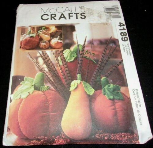 """McCalls Craft Pattern 4189 Pumpkins & Gourds height from 9-20"""" uncut"""