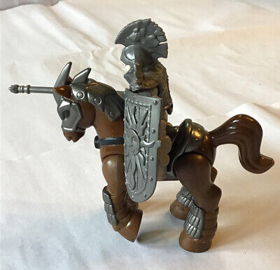 Fisher Price Imaginext CASTLE JOUSTING  Grey KNIGHT Brown HORSE W/ Accessories