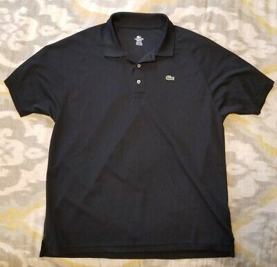 Lacoste Sport Polo Shirt Mens 7 Black Alligator Croc Logo RN87651