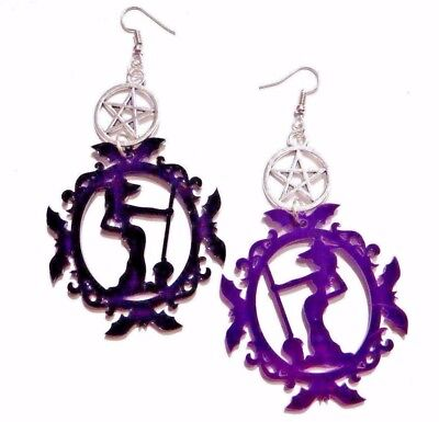 LASER CUT WITCH CAMEO EARRINGS acrylic gothic Halloween Wiccan Pentagram - Halloween 3 Laser
