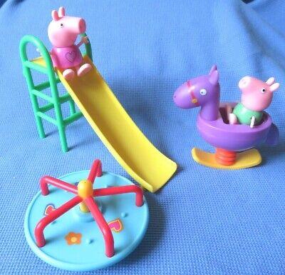 PEPPA PIG PLAYGROUND PARK SLIDE ROCKING HORSE MERRY GO ROUND + FIGURES LOT