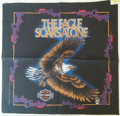 Vtg Harley Davidson The Eagle Soars Alone Bandana Handkerchief New Black NWT