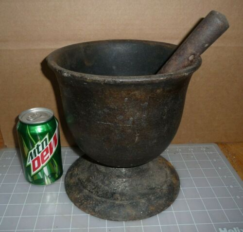 HUGE ANTIQUE CAST IRON MORTAR AND PESTLE 20+ lbs! 19th c. APOTHECARY. PHARMACY