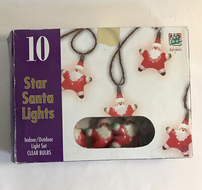 Vintage Santa Star Christmas Holiday 10 String Lights 1996 Indoor Outdoor Decor