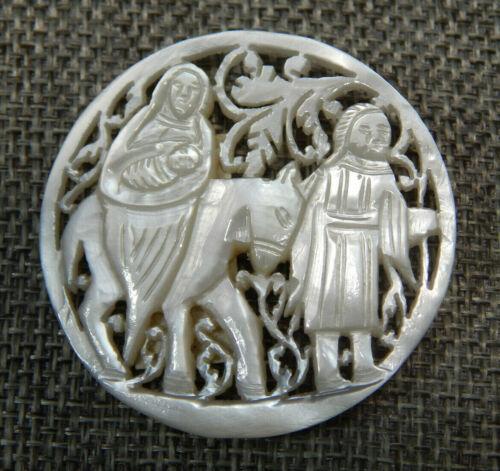 """Antique Vtg Bethlehem Button Mary Joseph Jesus  MOP~Apx:1-5/8""""~#1033-E"""