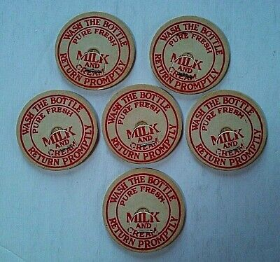 """Vintage Milk Caps, Lot Of 6, Bottle Toppers """"Pure Fresh Milk and Cream"""" Dairy Ad"""