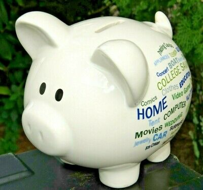 ✅ Large Piggy Coin Wachovia Bank Money Pig Ceramic White Sayings W/Stopper - Large Ceramic Piggy Bank