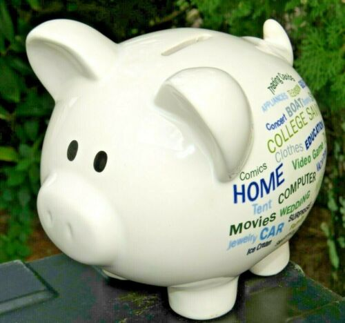 ✅ Large Piggy Coin Wachovia Bank Money Pig Ceramic White Sayings W/Stopper