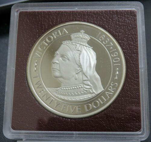 1977 Cayman Islands $25 Proof Victoria 1.52 oz Silver Coin Low Mintage