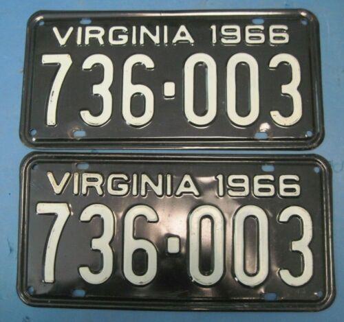 1966 Virginia License Plates Matched Pair very good originals