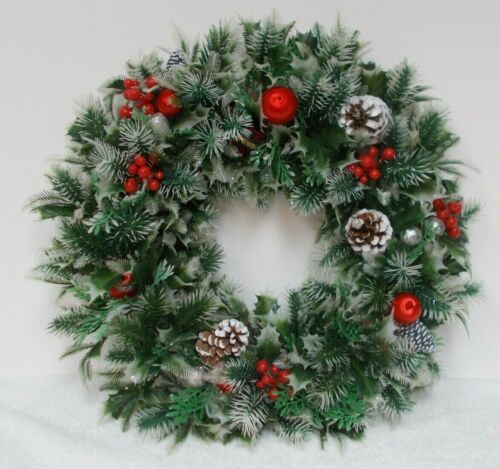 Christmas WREATH Plastic Green & White with Red Silk Balls Berries Pinecones 18""