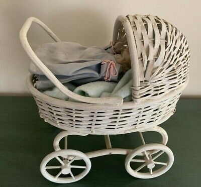 Vintage Small WHITE WICKER  BABY DOLL CARRIAGE/PRAM w/SHACKMAN BABY DOLL