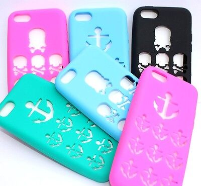 Apple Iphone 5 Shell (Apple iPhone 5C - Soft Rubber Silicone Skin Case Shell Cover - SKULL / ANCHOR)