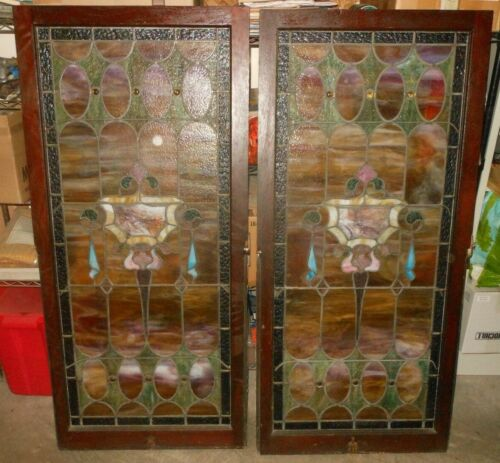 Pair of Antique Victorian Stained Leaded Glass Windows