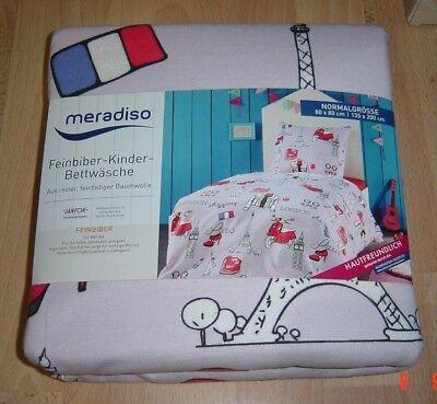 meradiso® Feinbiber Bettwäsche Garnitur  für Kinder,Normalgrösse,135x200cm,NEU