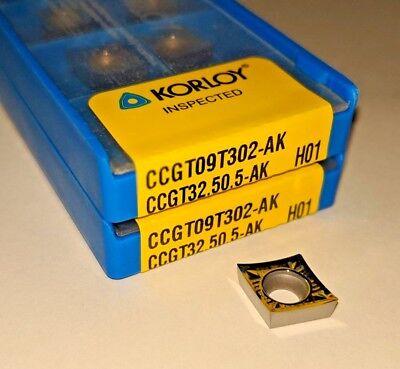 Korloy Ccgt 32.50.5-ak Ccgt 09t302-ak H01 Carbide Inserts For Aluminum10 Pcs