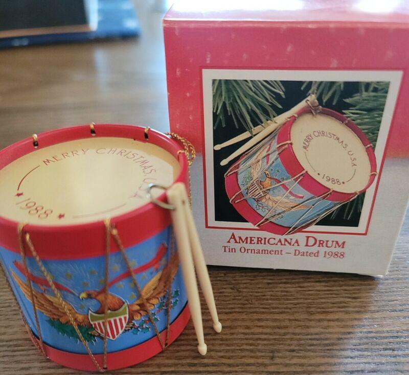Hallmark Keepsake Christmas Ornament Americana Drum Tin 1988 Vintage with Box