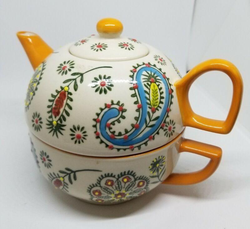 Yokohama Studio Hand Painted Golden  Paisley  3-piece Stacked Set Cup Teapot
