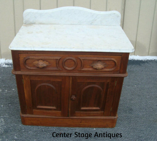 61705  Antique Victorian Marble Top Walut Cottage Washstand Chest