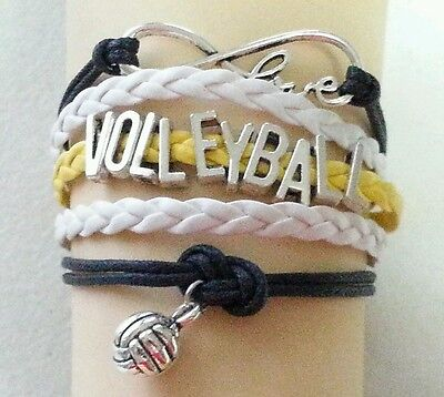 VOLLEYBALL LEATHER CHARM BRACELET-YELLOW/BLACK/WHITE-ADJUSTABLE-SPORTS-#15](Volleyball Charm Bracelet)
