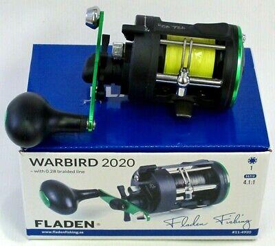 Fladen Warbird 2020 Boat 1bb Sea Multiplier Fishing Reel with 0.28 Braid Line