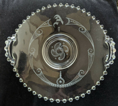"""Vintage 8-1/2"""" Candlewick Clear Glass Etched Serving Plate with Handles"""