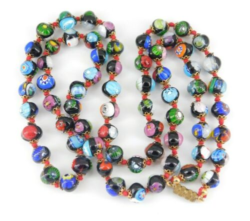 """Vintage Millefiori Glass Beaded Necklace 32.5"""" Long"""