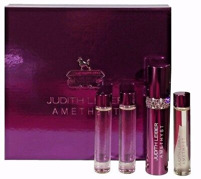 Gift Set Judith Leiber Amethyst Parfum Spray 3x 10ml Refills Chrystal Ring Woman