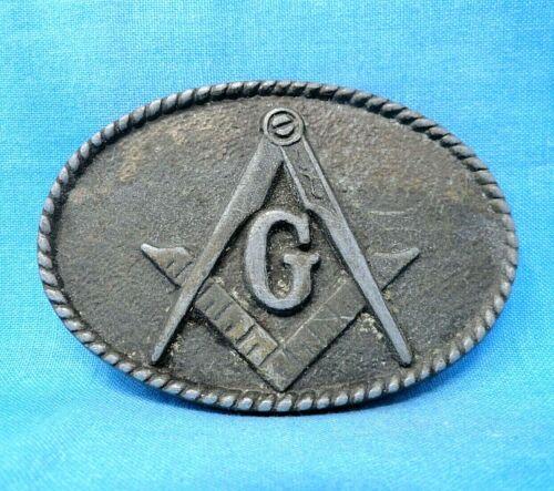 Vintage Masonic Order Belt Buckle - Gray Metal Buckle #4033               BMW288