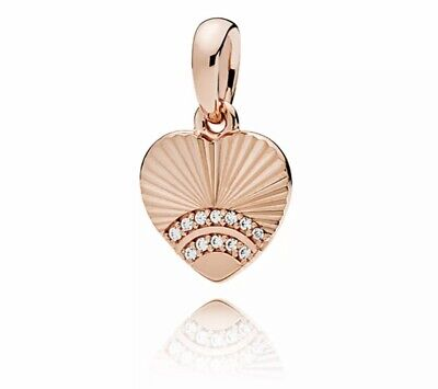 Authentic Pandora Rose Gold Fan of Love Dangle Charm #387286ALH