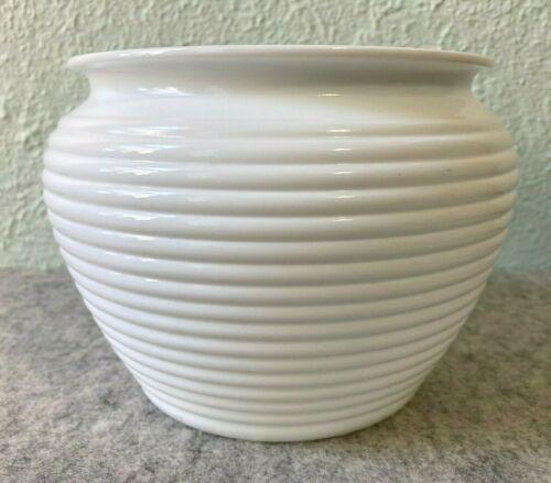 Vintage Anchor Hocking Fire King Vitrock Milk Glass Ringed Planter Vase Bowl