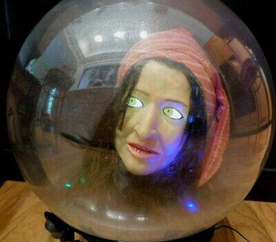 "Spirit Ball Fortune Teller Gypsy Gemmy Light Talks 14"" w/ stand & Box Halloween"