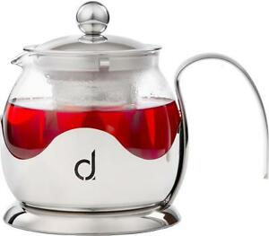 Andrew James Glass Infusion Teapot - Loose Tea Leaves Filter Herbal Infuser Pot