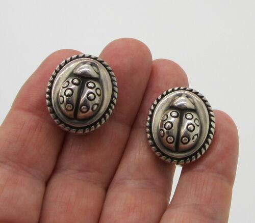 Estate 1996 Barry Kieselstein Cord Sterling Silver Ladybug Bug Pierced Earrings