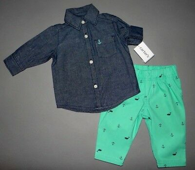 Baby boy clothes, 18 months, Carter's Jean dress shirt, matching pant/SEE DETAIL