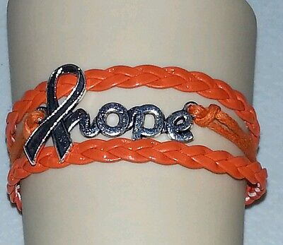 KIDNEY & LUKEMIA AWARENESS,HOPE RIBBON,LEATHER CHARM BRACELET-ORANGE#46
