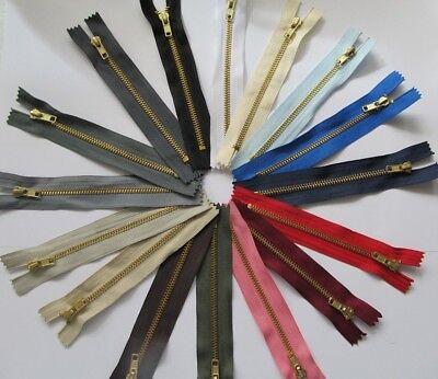 Brass Jean Metal Zipper (BRASS JEANS ZIP Trousers Skirt Heavy Duty Metal No 4 Weight Size & Colour Choice )