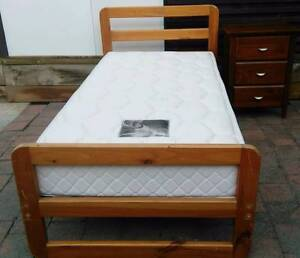 Almost new single wooden bed with bedside table. Delivery availab Bundoora Banyule Area Preview