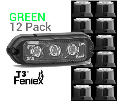 12 Pack Feniex T3 Led Surface Mount Warning Light Super Bright  Green
