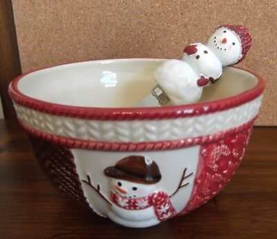 St. Nicholas Square Dip bowl and spreader, Snowman, Warm Wishes, NIB